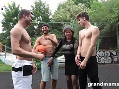 Grown up nympho Agatha seduces three guys on get under one's basketball court