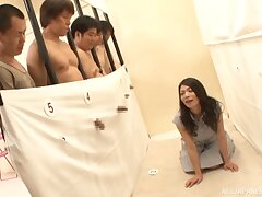 Japanese sex festivity end with amazing fucking on the floor. HD