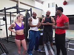 BBC gangbang at the gym to beautiful unladylike Chloe Temple