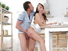 Passionate fucking atop the bed with small tits girlfriend Madlen B
