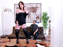 Tattooed mature slut Lily-rose Ray drops panties to ride a prick