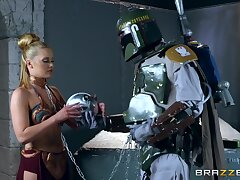 Storm Trooper has a blast with leashed blondie Abby Spoiled