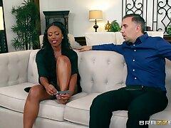 Ebony beauty soaks her prospect in burnish apply white man's load