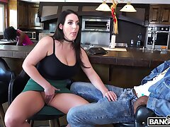 Staggering interracial quickie with busty brunette Angela White