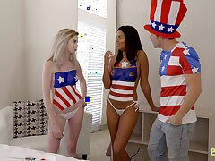Lexi Lore and Vienna Black celebrate July Fourth round a threeway fuck