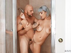 Sneaky Shower Sex with muscled stud JMac increased by wet PAWG blonde Gabbie Typhoid Mary - reality hardcore