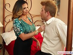 Lewd wife Danica Dillan seduces husband's team up with the addition of bangs him like a sex-starved hooker