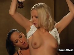 Glum Lesbian Teen Takes Strapon Deep In Their way Pussy And Moans Unending