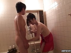 His sexy Asian wife Yuka getting her pussy eaten