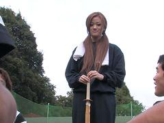 Japanese brunette teen An Umemiya sucks a cock in secrecy