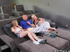 Cute teen Lilly Ford gets her wet pussy pounded on the couch
