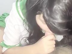 Teen School Girl Deepthroats and Swallows Cum In Cosplay