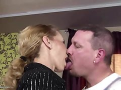 Skinny mature mom gets anal sex with an increment of drinks pee