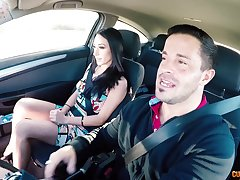 Long legged brunette babe blows and rides dick in a car