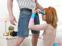 Redhead nerdy teen Kira Roller wants all of the cum in her brashness