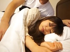 Cute Japanese ten babe wakes up with an increment of gets a pussy creampie