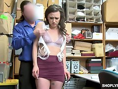 Pretty hot brunette Alex More is punished hard be fitting of shoplifting