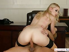 Perfect long legged nympho Anny Aurora rides cock of say no to boss on table