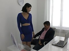 Yummy young secretary Lady Dee plays with hard dick of the brush horny boss