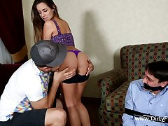 Bitchy girlfriend Cassidy Klein fucks best friend all round command of her boyfriend