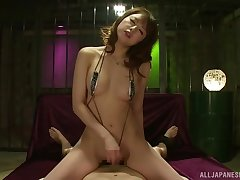 Japanese bikini MILF Yoshizawa Akiho rides cock together with strokes for cum
