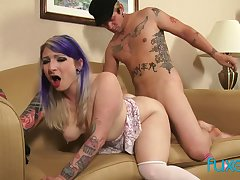 Punk pierced tattoo mollycoddle Olivia Rose loops over for some learn of