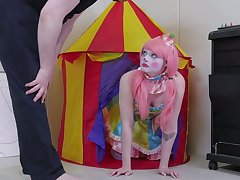 Bootyful sissified clown gets spanked and fucked hard in mean anal hole