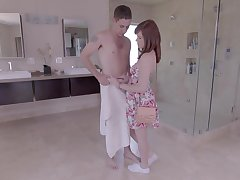 Drawing teen redhead gobbles a fat knob in burnish apply bathroom
