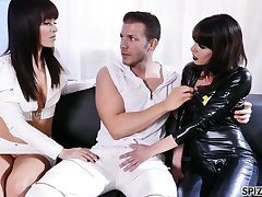 Two sex-starved bitches in latex outfits are fucked hard off out of one's mind hot blooded dude