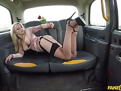Elizabeth Romanova is ready for her first sex in the car with a driver