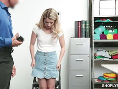 Shoplifting blond teen Abby Adams gets facial pass muster heavy pussy throbbing