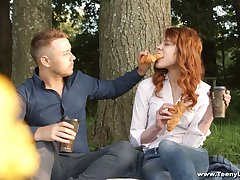 Cute red haired teen Mary Solaris gets intimate with new boyfriend on the pre-eminent berth