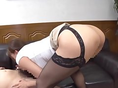 Big ass Japanese sweeping deals lover's dick like a pro
