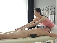 Hottie Emma gives a nice dick massage to her buyer and rides him