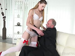 Geezer enjoys fucking deep throat and wet young pussy of lustful student Milena Devi