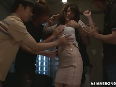Several students fuck Japanese slip up on Kanako Iioka and fill her carry off helter-skelter cum