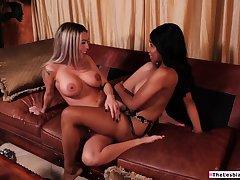 Ebony babe teaches candid latina friend how to eat pussy