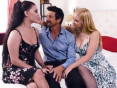 Intense threesome sex with charming Sarah Vandella and Jojo Kiss