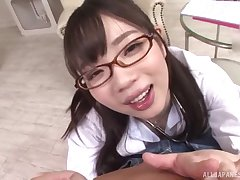 Japanese schoogirl kneels for step daddy before spiralling to teacher