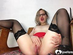 Amazing motor coach in stockings pleasures the brush juicy vagina