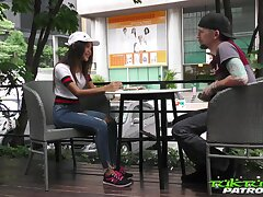 Concupiscent Thai student Firsthand gets intimate with on the verge of known guy