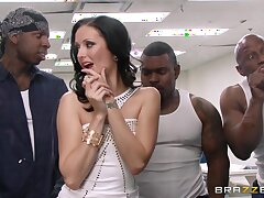 Wild interracial gangbang upon double penetration for Hailey Young